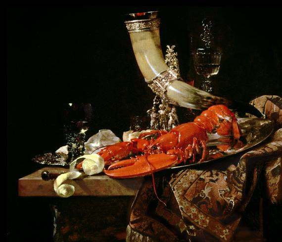 Still Life with the Drinking-Horn of the St Sebastian Archers' Guild, Lobster and Glasses by Willem Kalf (c. 1653), Collection National Gallery, London