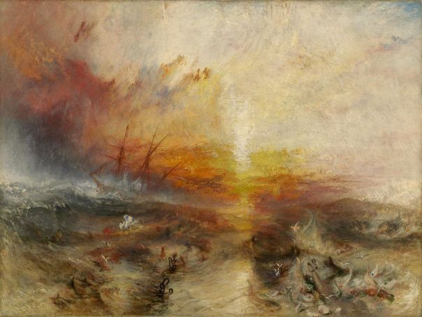 J.M.W. Turner, The Slave Ship (1840). Oil on canvas. 90.8 × 122.6 cm, Museum of Fine Arts, Boston