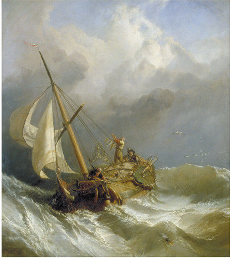 "Clarkson Frederick Stanfield, ""A Dutch Dogger Carrying Away her Sprit; On the Dogger Bank,"" 1846, collection Victoria and Albert Museum, London"